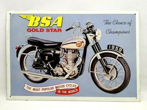 16x11 inch VINTAGE made in UK metal BSA motorcycle SIGN
