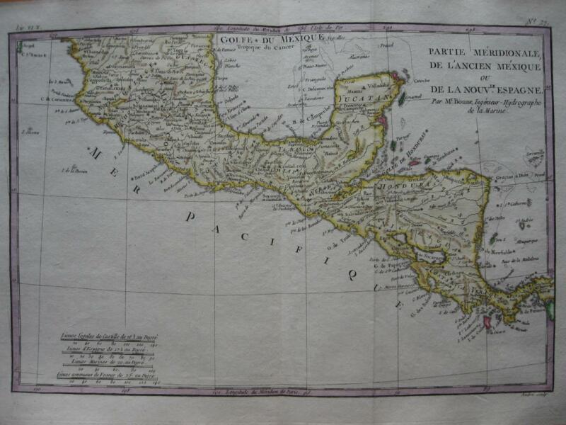 1780 - BONNE - Map MEXICO  CENTRAL AMERICA  Yucatan  Panama