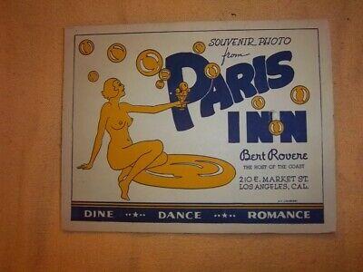 1940s PARIS INN Vintage SOUVENIR PHOTO Nude Illustration LOS ANGELES Bar/Lounge