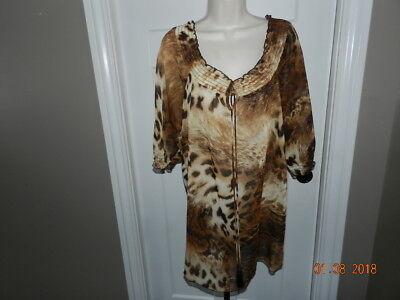 THEME HSN animal print BLOUSE Tunic Top size L NWT Black brown