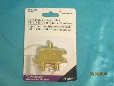 NEW 24kt Gold Plated 2 Way Hybrid 75 ohm UHF/VHF/FM Splitter RadioShack 15-8328A