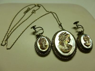 ART NOUVEAU DECO 875 STERLING SILVER CAMEO EARRINGS PAIR SET NECKLACE PENDANT