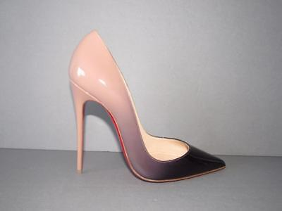 AUTHENTIC NEW CHRISTIAN LOUBOUTIN 37 SO KATE 120 DEGRADE BLACK NUDE PATENT PUMPS