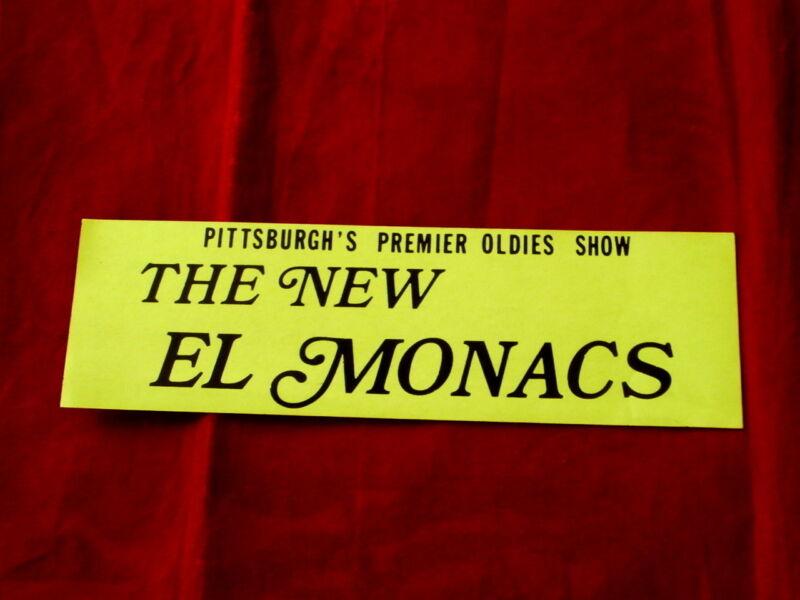 NEW EL MONACS~ BUMMPER STICKER~ MINT~ PITTSBURGH