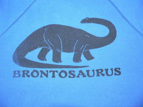 VTG 80S BRONTOSAURUS DINOSAUR T-SHIRT YOUTH KID SzM USA MADE CREW NECK HANES