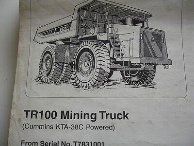 Terex Tr100 Off-highway Mining Truck Cummins Service Parts Book Manual Catalog