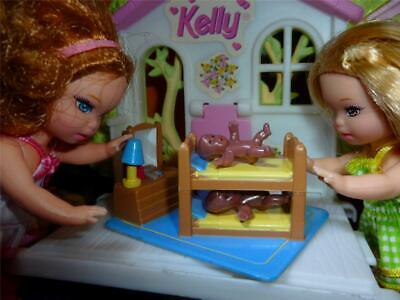 BARBIE KELLY DOLL SIZE TOY - MINIATURE FURNITURE BUNK BED & MINI BABY DOLLS