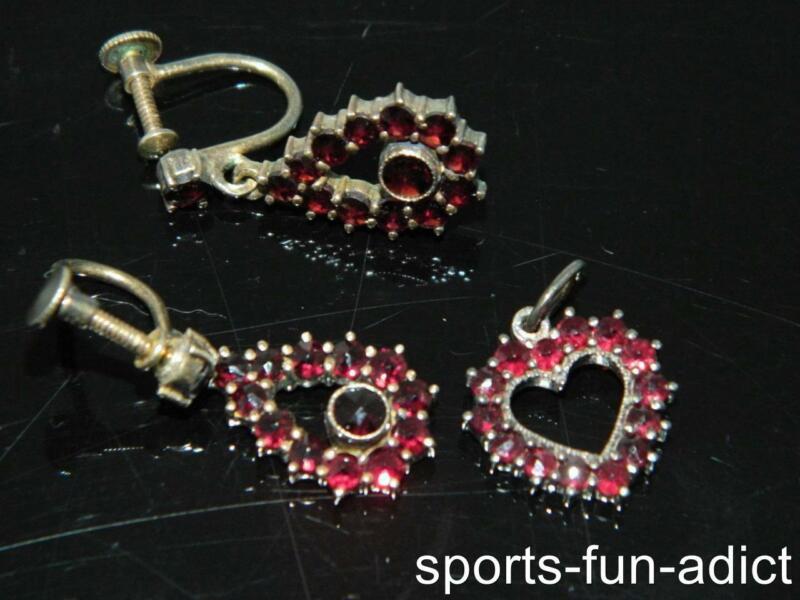 Antique Rose Cut Bohemian Garnet Vermeil 900 Silver Dangle Earring+Heart Pendant