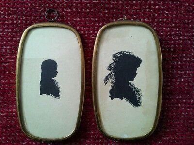 2 Antique Vintage Miniature Silhouette Portrait painting a Lady, young child boy