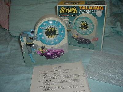 Working 1974 Batman & Robin Collectible Janex Talking Alarm Clock w/box.