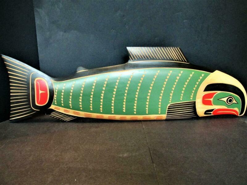 MATTHEW BAKER SQUAMISH NATION CAN.HAND CARVED WOOD SALMON PLAQUE SIGNED KT7144