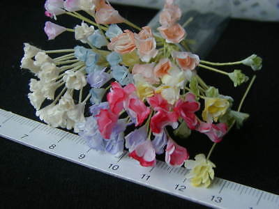 40 Miniature Tiny Mulberry flower Doll House in Assorted colours 1:12 Handmade