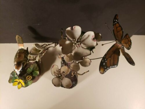 BRUMM Enamel over Copper Art BIRD ON WOOD BUTTERFLY FLOWER Set of 2 Vintage