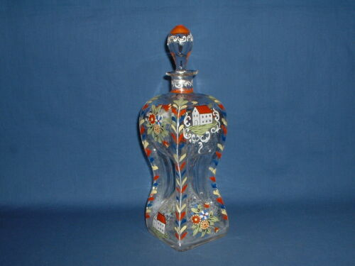 Antique Stiegel Type Hand Painted Enameled Glass Bottle