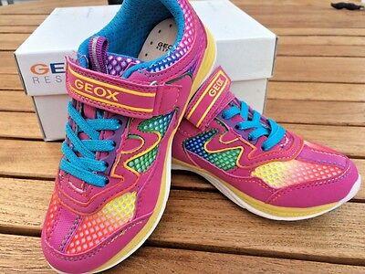 - Geox  SNEAKERS Fuchsia/Multi Leather & Mesh  NON- TIE Little Girls Size 10