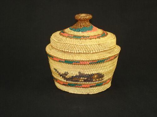 Northwest Nootka Covered Basket, Native American Indian, Circa: 1950