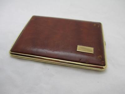 Vintage Antique Single Side Brown Leather Colibri Cigarette Case Made in -