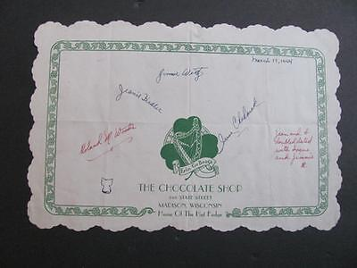Vtg 1944 WWII Era Chocolate Shop 548 State St MADISON WI Paper Placemat Signed