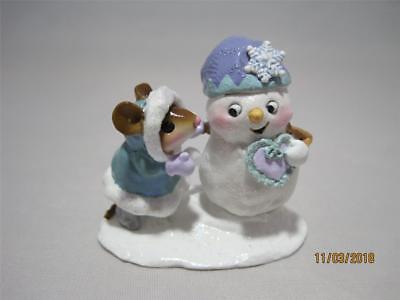 Forest Snowman - Wee Forest Folk Crystal & Snowman - Retired - WFF Box