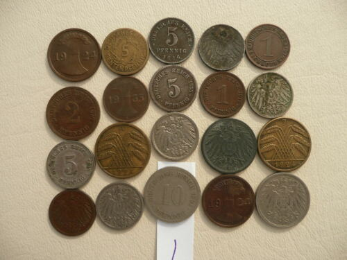 Lot of 20 Germany Coins - Empire and Weimar - Lot 1
