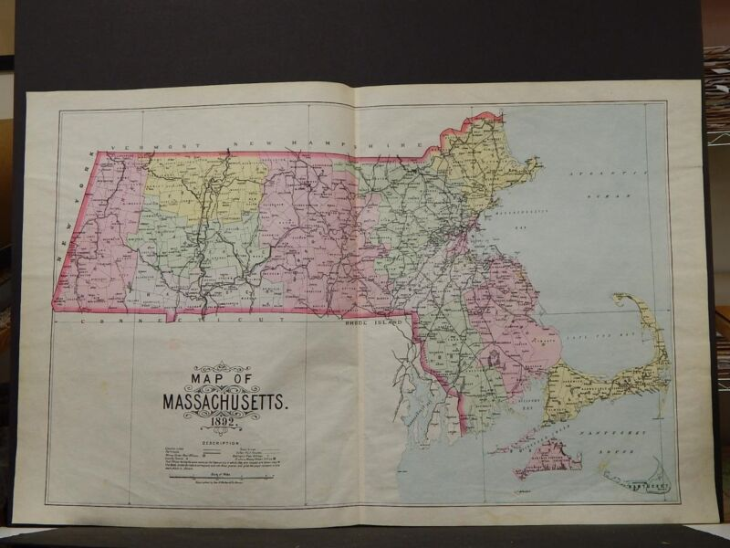 Massachusetts State Map, 1892 Authentic, Hand Color L3#70