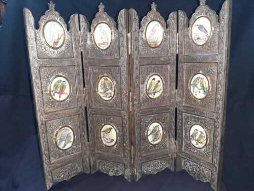 Miniature mughal style handcarved copper studded wooden screen with 12 paintings
