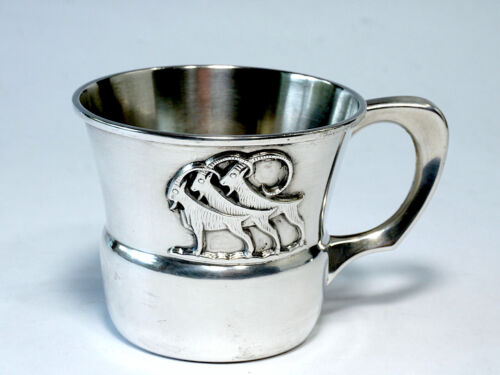 """Thune Norway Three Billy Goats Gruff Sterling Baby Cup """"T 830S""""  Barrington 1967"""