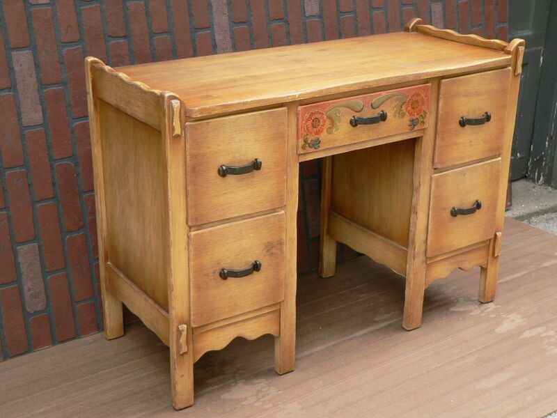 Vtg 1930s California Monterey Angeles Furniture Co CORONADO Decorated Desk