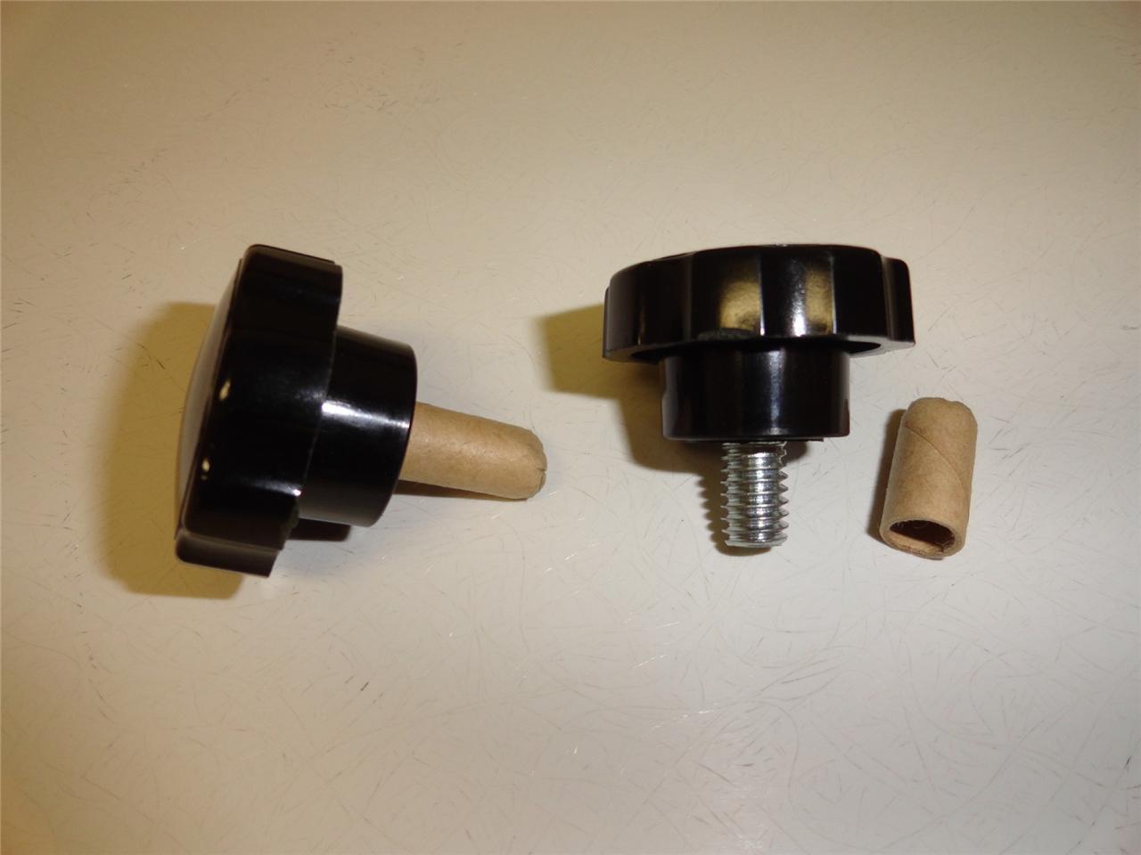"""Black Plastic Fluted Knob w/ Steel 5/16""""-16 Thread Stud"""