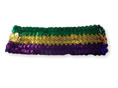 Sequin Mardi Gras Elastic Headband Purple Green Gold](Mardi Gras Headband)