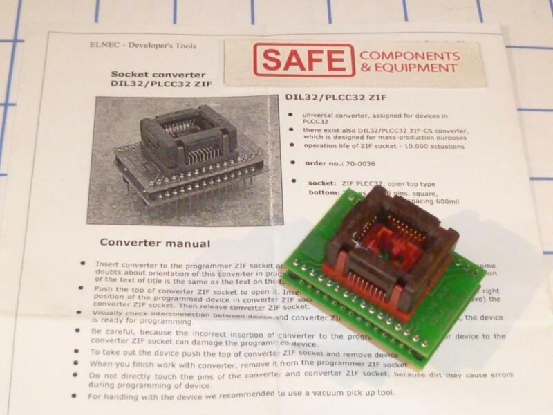 Elnec 70-0036 DIL32/PLCC32-ZIF Socket Device Programmer Adapter Universal C35-6