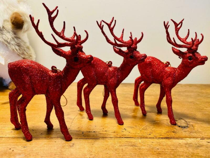 """INO SCHALLER BAYERN GERMANY LOT OF 3 RED GLITTER 7"""" CHRISTMAS REINDEER ORNAMENT"""