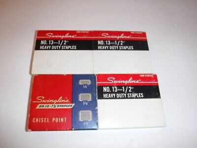Nos Lot Of 4 Swingline Staples No. 13 Heavy Duty Chisel Point 12