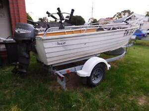 Stacer Aluminium Tinnie & 25HP O/Board on Mackay drive-on trailer Newport Hobsons Bay Area Preview