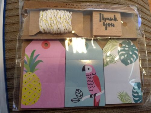 ms. sparkle & co tropical gift tags thank you tag and stamp kit NEW
