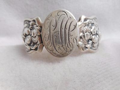 UNGER BROTHERS ART NOUVEAU FINE STERLING LADY EVANGELINE NAPKIN RING W/ MONO