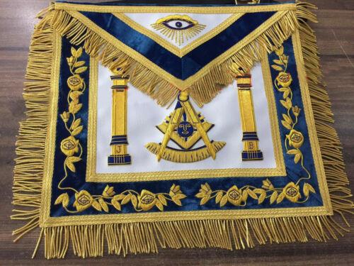Hand Bullion Past Master Embroidery Aprons, Past Master Aprons, Masonic Aprons