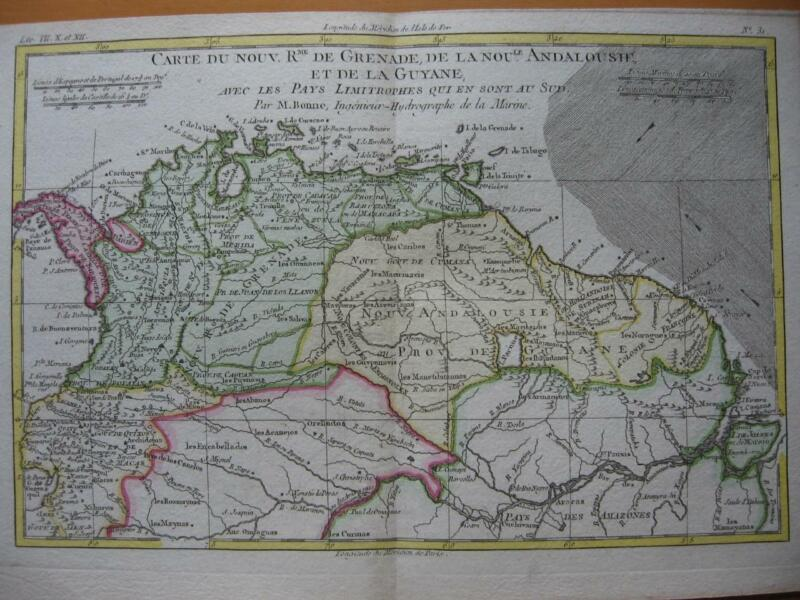 1780 - BONNE - Map COLOMBIA  ECUADOR  GUYANAS  AMAZON R.  NORTHERN BRAZIL