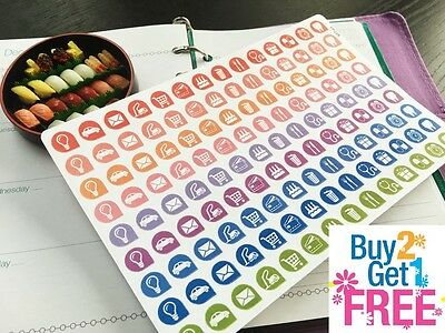-  PP228 -- Little Icons Life Planner Die-cut Stickers for Erin Condren (126pcs)