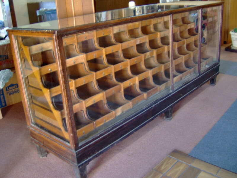Antique OAK Wood & Glass Mercantile Store Showcase 8
