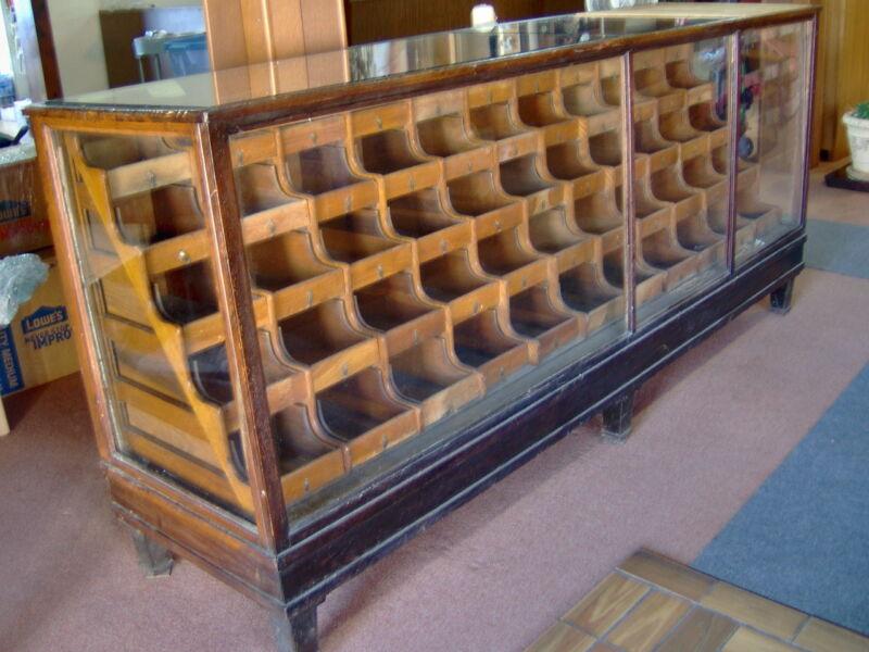 Antique OAK Wood & Glass Mercantile Store Showcase 8