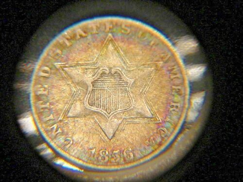 1856 THREE CENT SILVER XF + NICE BETTER DATE PRETTY COLOR ORIGINAL COIN