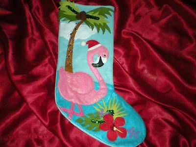 TROPICAL CHRISTMAS PINK FLAMINGO BEACHING IT WITH SANTA HAT AMARYLLIS PALM TREE