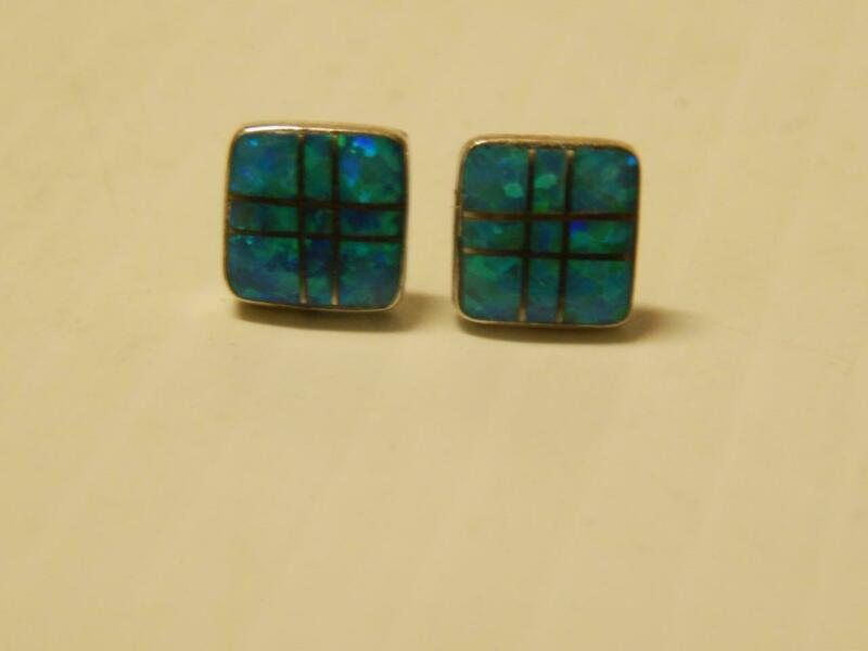 GORGEOUS VINTAGE ZUNI INDIAN STERLING SILVER OPAL INLAY EARRINGS signed MD