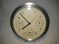 Bai Brushed Stainless Steel 6 in 1 Weather Station Wall Clock