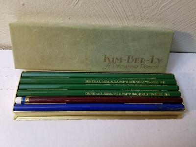 10 VINTAGE KIM-BER-LY DRAWING PENCILS 525 HB CARBO WELD W/BOX BLUE CARMINE RED