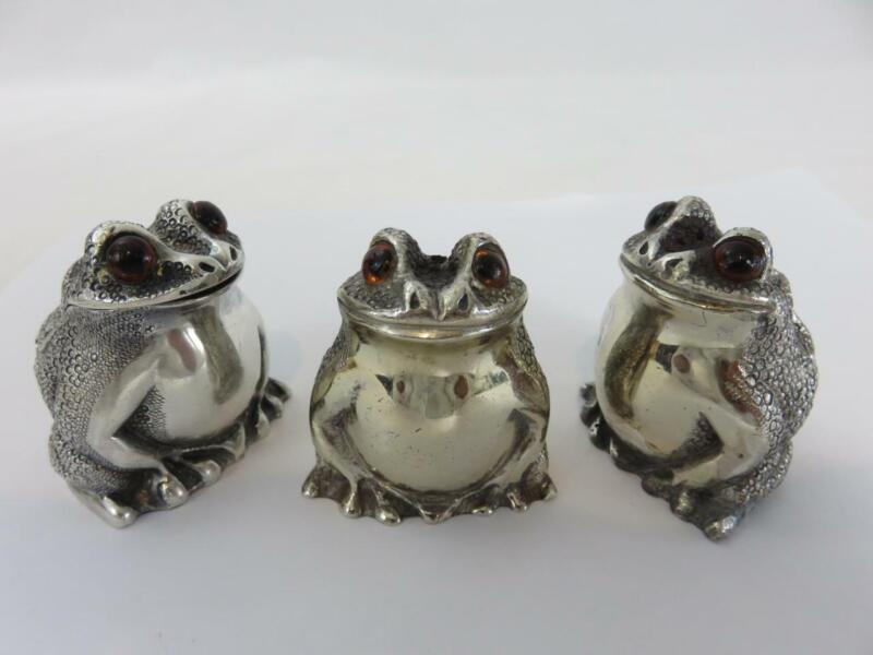 Richard Comyns Sterling Silver Figural Frog Mustard Pot Salt & Pepper Shaker Set