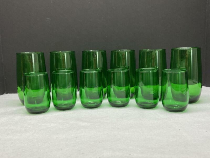 12 Vintage ANCHOR HOCKING + 6 Juice & 6 Drinking Glasses Christmas Forest Green