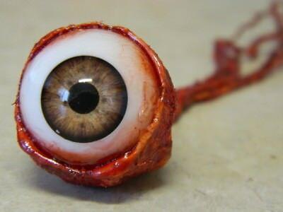 HALLOWEEN HORROR Movie PROP RIPPED OUT EYEBALL Light Brown! (Eyeballs Halloween)