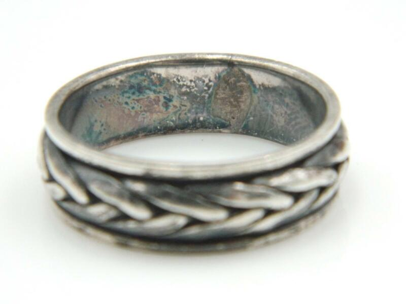 Mens Mexico 925 Sterling Silver Braid Twist Spinner Band Ring Sz 13.75